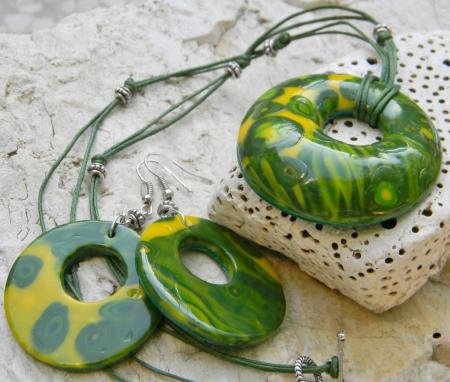 Souprava šperků Zelené kvítky