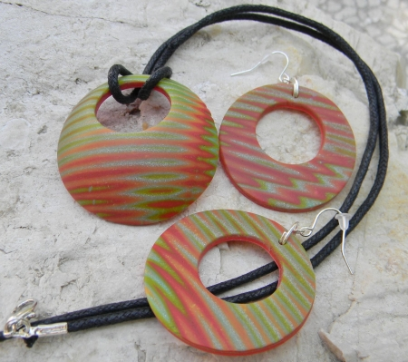 Souprava šperků Donut - červeno-zelený
