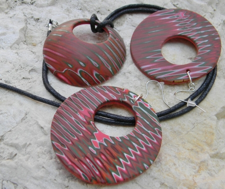 Souprava šperků Donut - ohnivý velký